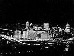 Pittsburgh PA:  View of the first Light Up Night in Pittsburgh - 1960.  Photograph was taken from Mount Washington overlooking the city.