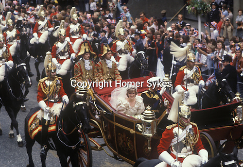 Prince Charles and Lady Diana Spencer wedding. London The Mall  29th July 1981 Open coach down the Mall.