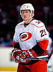 31 March 2010: Carolina Hurricanes' defenseman Joni Pitkanen warms up prior to a game against the Montreal Canadiens at the Bell Centre in Montreal, Quebec, Canada. The Hurricanes defeated the Canadiens 2-1 in their last meeting of the regular season. Mandatory Credit: Ed Wolfstein Photo