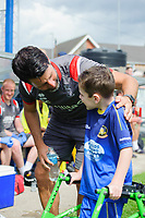 Lincoln City manager Danny Cowley meets a young Gainsborough Trinity fan<br /> <br /> Photographer Chris Vaughan/CameraSport<br /> <br /> Football Pre-Season Friendly (Community Festival of Lincolnshire) - Gainsborough Trinity v Lincoln City - Saturday 6th July 2019 - The Martin & Co Arena - Gainsborough<br /> <br /> World Copyright © 2018 CameraSport. All rights reserved. 43 Linden Ave. Countesthorpe. Leicester. England. LE8 5PG - Tel: +44 (0) 116 277 4147 - admin@camerasport.com - www.camerasport.com