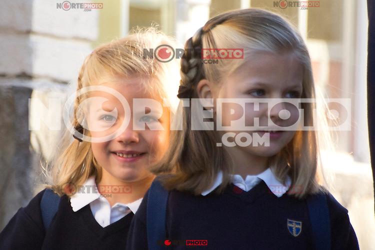 14.09.2012. Prince Felipe of Spain, Princess Letizia of Spain and their daughters Leonor and Sofia  arrive at 'Santa Maria de los Rosales' School in Aravaca near of Madrid, Spain. In the image (L-R) Princess Sofia and Princess Leonor  (Alterphotos/Marta Gonzalez) /NortePhoto.com<br /> <br /> **CREDITO*OBLIGATORIO** *No*Venta*A*Terceros*<br /> *No*Sale*So*third*...