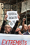 © Joel Goodman - 07973 332324 - all rights reserved . 05/09/2009 . Birmingham , UK . The EDL ( English Defence League ) hold a demonstration in Birmingham , opposed by antifascists . Photo credit : Joel Goodman