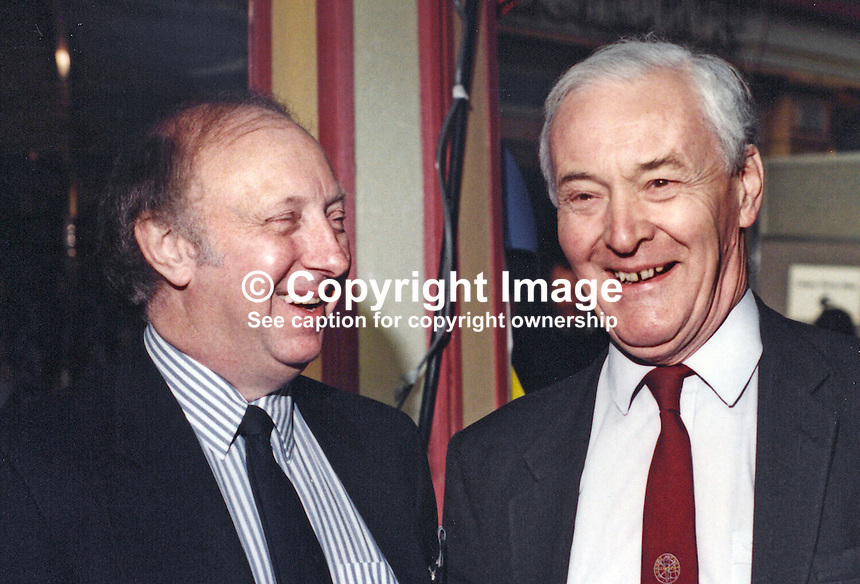 Tony Benn, MP, Labour Party, UK, Westminster Parliament, right, with Arthur Scargill, President, National Union of Mineworkers, at Labour Party Conference, 19940927/AS+TWB.<br />