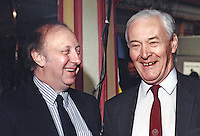 Tony Benn, MP, Labour Party, UK, Westminster Parliament, right, with Arthur Scargill, President, National Union of Mineworkers, at Labour Party Conference, 19940927/AS+TWB.<br /> <br /> Copyright Image from Victor Patterson,<br /> 54 Dorchester Park, <br /> Belfast, UK, BT9 6RJ<br /> <br /> t1: +44 28 9066 1296 (from Rep of Ireland 048 90661296)<br /> t2: +44 28 9002 2446 (from Rep of Ireland 048 9002 2446)<br /> <br /> m: +44 7802 353836<br /> <br /> e: victorpatterson@me.com<br /> www.victorpatterson.com<br /> <br /> Please see my Terms and Conditions of Use at www.victorpatterson.com. It is IMPORTANT that you familiarise yourself with them.<br /> <br /> Images used on the Internet must be visibly watermarked i.e. &copy; Victor Patterson<br /> within the body of the image and copyright metadata must not be deleted. Images <br /> used on the Internet have a size restriction of 4kbs and will be chargeable at current<br />  NUJ rates unless agreed otherwise.<br /> <br /> This image is only available for the use of the download recipient i.e. television station, newspaper, magazine, book publisher, etc, and must not be passed on to any third <br /> party. It is also downloaded on condition that each and every usage is notified within 7 days to victorpatterson@me.com<br /> <br /> The right of Victor Patterson to be identified as the author is asserted in accordance with The Copyright Designs And Patents Act (1988). All moral rights are asserted