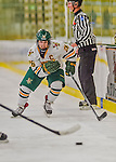 13 February 2015: University of Vermont Catamount Defender Sarah Campbell, a Senior from Saratoga Springs, NY, in third period action against the University of New Hampshire Wildcats at Gutterson Fieldhouse in Burlington, Vermont. The Lady Catamounts fell to the visiting Wildcats 4-2 in the first game of their weekend Hockey East series. Mandatory Credit: Ed Wolfstein Photo *** RAW (NEF) Image File Available ***