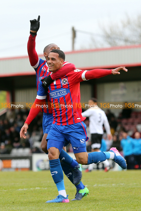 Corey Whitely of Dagenham and Redbridge is congratulated after scoring the third goal during Boreham Wood vs Dagenham & Redbridge, Vanarama National League Football at Meadow Park on 14th April 2017