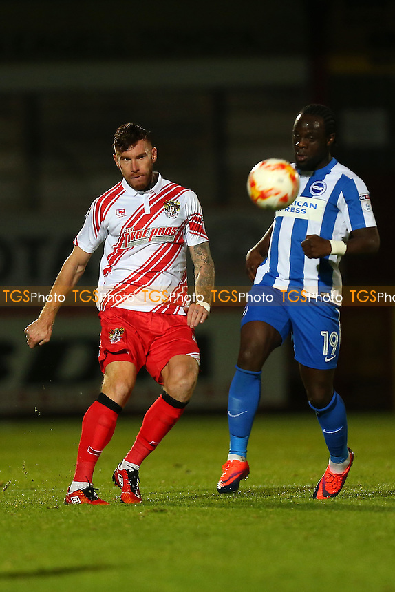 Jack King of Stevenage and Elvis Manu of Brighton during Stevenage vs Brighton & Hove Albion Under-23, Checkatrade Trophy Football at the Lamex Stadium on 4th October 2016