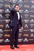 Carlos Santos pose to the media with the Goya award at Madrid Marriott Auditorium Hotel in Madrid, Spain. February 04, 2017. (ALTERPHOTOS/BorjaB.Hojas) /NORTEPHOTO.COM
