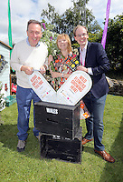 Pictured L-R: MP Nick Smith, Maria Golightly and Phillip Turvil Saturday 13 August 2016<br />Re: Grow Wild event at  Furnace to Flowers site in Ebbw Vale, Wales, UK