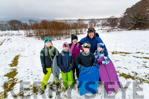 Colm, Mark and Stella Looney, TJ O'Sullivan with Brian and Kevin Looney, all from Killarney, enjoying the Winter Wonderland in Killarney National Park, on Saturday last.