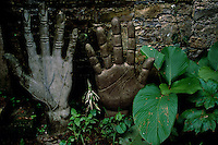Scuptured hands line the entry way walk to Las Pozas, the ruins of a home built by Sir Edward James who lived in this remote area from 1950-1980. The grandson of King Edward VII of England, the surrealist artist created a mixture of architecturally interesting rooms and vistas connecting the inside and outside jungle and meandering to a waterfall. The jungle began reclaiming this odd ruin when he died in 1984.