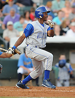 July 7, 2008: Outfielder Jarod Dyson (34) of the Wilmington Blue Rocks, Class A affiliate of the Kansas City Royals, in a game against the Myrtle Beach Pelicans at BB&T Coastal Field in Myrtle Beach, S.C. Photo by:  Tom Priddy/Four Seam Image