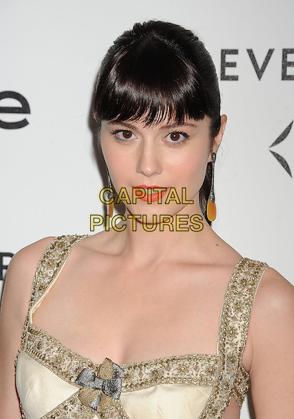 Mary Elizabeth Winstead.Forevermark and In Style 'A Promise of Beauty and Brilliance' held at The Beverly Hills Hotel in Beverly Hills, California, USA..January 10th, 2012.headshot portrait white gold beads beaded dangling earrings fringe bangs hair.CAP/ROT/TM.©Tony Michaels/Roth Stock/Capital Pictures