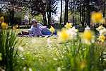 © Joel Goodman - 07973 332324 . 6 May 2013 . Debdale Park , Gorton , Manchester , UK . Couple Philip Cohen (34) and Samantha Johnson (31) (both correct) from Gorton . People enjoy the sunshine weather in Debdale Park , Gorton , during the Bank Holiday Monday . Photo credit : Joel Goodman