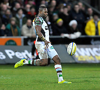 Northampton, England. Ugo Monye of Harlequins in action during the Aviva Premiership match between Northampton Saints and Harlequins at Franklin's Gardens on December 22. 2012 in Northampton, England.