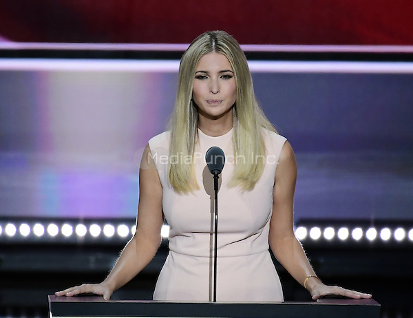 Ivanka Trump, Daughter of Donald Trump and EVP at the Trump Organization, introduces her father at the 2016 Republican National Convention held at the Quicken Loans Arena in Cleveland, Ohio on Thursday, July 21, 2016.<br /> Credit: Ron Sachs / CNP/MediaPunch<br /> (RESTRICTION: NO New York or New Jersey Newspapers or newspapers within a 75 mile radius of New York City)