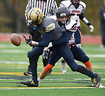 Althoff wide receiver Burke Watts (13, left) loses the ball as he is hit by Carterville's Nick Kralis. The Althoff Catholic High School Crusaders defeated the Carterville Lions 42-0 in a first-round Illinois High School Association Class 4A football playoff game on Saturday October 28, 2017 in Belleville.