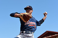 Atlanta Braves pitcher Matt Marksberry (48) during a minor league spring training game against the Houston Astros on March 29, 2015 at the Osceola County Stadium Complex in Kissimmee, Florida.  (Mike Janes/Four Seam Images)