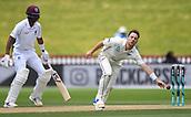 4th December 2017, Basin Reserve, Wellington, New Zealand; International Test Cricket, Day 4, New Zealand versus West Indies;  Matt Henry fielding off his own bowling