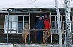 Randonnée en traineau dans le parc des Hautes Gorges. Rivière malbaig dans la région de Charlevoix. Quebec en hiver. Canada