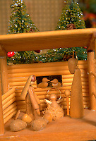 Wooden Christmas Nativity scene. St Paul Minnesota USA