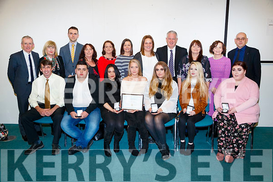 Pictured at the Kerry Education and Training Board student awards night, at the Institute of Technology, Tralee on Friday night last, were front l-r: Tim O'Connor, James O'Brien, Renata Zigova, Magdalena Mroczek, Danielle Curtin Mulcahy, Shannon O'Shea and Siobhan O'Byrne. Colm McEvoy (Chief Executive Officer, Kerry ETB), Gemma O'Brien (KDYS), Kerian Lucid (Guest Speaker), Bernie Kennedy (Tralee Youthreach LCA), Susan Kelly (Tralee Youthreach LCA), Mairead Collins (Tralee Youthreach) Maaike Verhuizen (Tralee Youthreach), John Adams (Killarney Youthreach) Rena Powell (Tralee Youthreach LCA), Ann O'Dwyer (Kerry ETB) and Joe Brennan (Killorglin Youthreach)