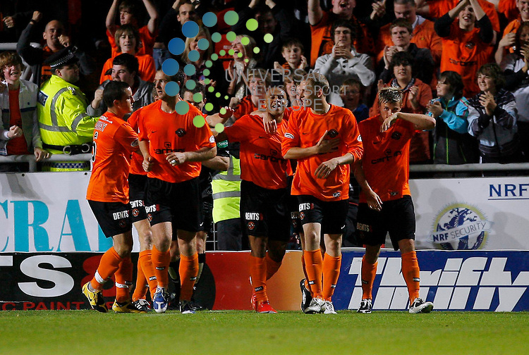 Dundee United FC v Hearts FC Season 2009/10 ..17/08/09.. United's Danny Cadamateri celebrates after putting United 2-0 up, during  this weekends SPL Season 2009/10 match between Dundee United FC and Hearts FC. .At Dundee United's Tannadice Stadium,  Dundee tonight...Picture by Mark Davison/ Universal News & Sport