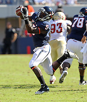 Oct 2, 2010; Charlottesville, VA, USA; Virginia Cavaliers running back Torrey Mack (5) makes a catch during the 2nd half of the game against Florida State at Scott Stadium. Florida State won 34-14. Photo/The Daily Progress/Andrew Shurtleff