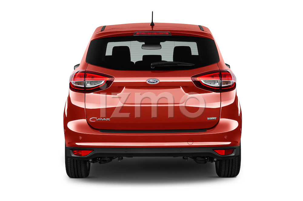 Straight rear view of 2015 Ford C Max Titanium 5 Door Mini Mpv Rear View  stock images