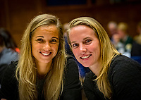 Den Bosch, The Netherlands, Februari 07 2019,  Maaspoort , FedCup  Netherlands - Canada, official dinner, Dutch table Arantxa Rus with Richel Hogenkamp<br /> Photo: Tennisimages/Henk Koster