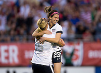 Erika Tymrak (23) of the USWNT celebrates her goal with teammate Lindsey Horan (25) during an international friendly at the Florida Citrus Bowl in Orlando, FL.  The USWNT defeated Brazil, 4-1.