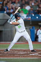Hillsboro Hops third baseman Ryan Tufts (35) at bat during a Northwest League game against the Salem-Keizer Volcanoes at Ron Tonkin Field on September 1, 2018 in Hillsboro, Oregon. The Salem-Keizer Volcanoes defeated the Hillsboro Hops by a score of 3-1. (Zachary Lucy/Four Seam Images)