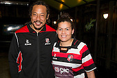 Counties Manukau Womens captain Rawinia Everitt with Steelers Coach Tana Umaga. Counties Manukau Womens team 2013 launch at The Local in Manukau City on Tuesday 3rd of September.