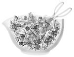 X-ray image of tossed salad with tongs (black on white) by Jim Wehtje, specialist in x-ray art and design images.