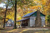 63895-16603 Cabin at Log Cabin Village in fall Kinmundy IL