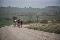 Team Lotto-Soudal putting in a serious effort in service of Tim Wellens (BEL/Lotto-Soudal)<br /> <br /> 11th Strade Bianche 2017