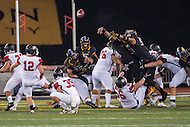 Baltimore, MD - SEPT 10, 2016: Towson Tigers defensive end Kanyia Anderson (99) block a St. Francis field goal late in the fourth quarter during their game at Johnny Unitas Stadium in Baltimore, MD. The Tigers defeated St. Francis 35-28. (Photo by Phil Peters/Media Images International)