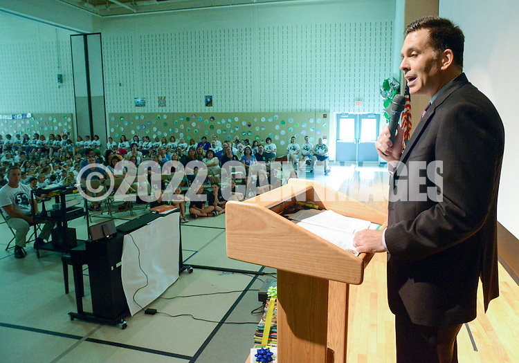 Principal Joseph Bremerton speaks about the history of the school during the 50th Anniversary celebration at Simon Butler Elementary Elementary School Friday June 12, 2015 in Chalfont, Pennsylvania.  (Photo by William Thomas Cain/Cain Images)