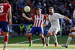 Real Madrid´s Daniel Carvajal and Atletico de Madrid´s Koke during 2015/16 La Liga match between Real Madrid and Atletico de Madrid at Santiago Bernabeu stadium in Madrid, Spain. February 27, 2016. (ALTERPHOTOS/Victor Blanco)