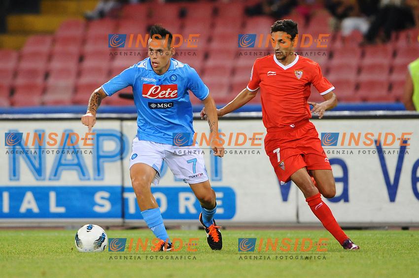 Marek Hamsik ( Napoli ) Navas Gonzalez ( Siviglia ).Football / Calcio - Napoli Vs Siviglia Friendly Match.Napoli, 07.08.2011 - Stadio San Paolo.Foto Insidefoto