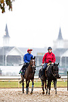 November 1, 2018: Frankie Dettori, aboard Enable (GB), trained by John H.M. Gosden, walks to back to the barn area after morning workouts in preparation for the Breeders' Cup Turf at Churchill Downs on November 1, 2018 in Louisville, Kentucky. Alex Evers/Eclipse Sportswire/CSM