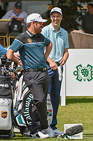 Ross Fisher (ENG) and Louis Oosthuizen (RSA) share a laugh on the 10th tee before round 2 of the World Golf Championships, Mexico, Club De Golf Chapultepec, Mexico City, Mexico. 3/2/2018.<br /> Picture: Golffile | Ken Murray<br /> <br /> <br /> All photo usage must carry mandatory copyright credit (&copy; Golffile | Ken Murray)