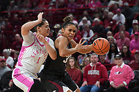 Arkansas' Chelsea Dungee makes a move to the basket in front of Kentucky's Sabrina Haines Sunday Feb 9, 2020 at Bud Walton Arena in Fayetteville. Arkansas won 103-85. More images are found at nwaonline.com/uabball/ (NWA Democrat-Gazette/J.T. Wampler)