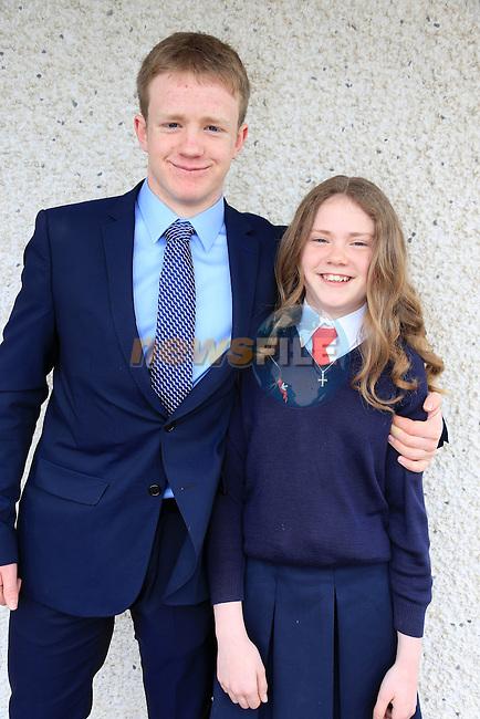 Kate Egleston and Hugh Egleston at confirmation in Mornington Church.<br /> Picture: www.newsfile.ie