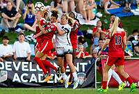 Boyds, MD. - Saturday, June 24 2017:  Tori Huster, Estelle Johnson, Lindsey Horan during a regular season National Women's Soccer League (NWSL) match between the Washington Spirit and the Portland Thorns FC at Maureen Hendricks Field, Maryland SoccerPlex. The Washington Spirit defeated Portland Thorns FC 1-0.