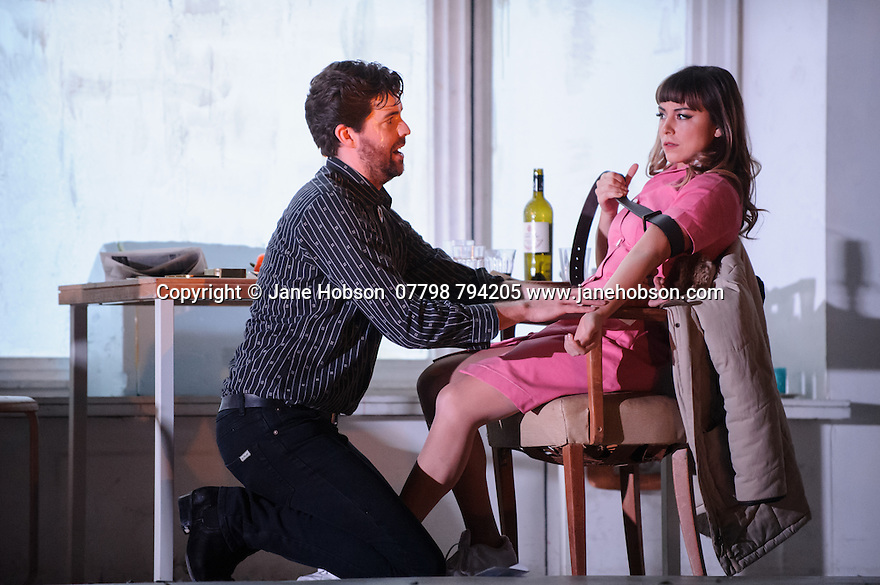 London, UK. 14.10.2015. English National Opera presents, in a co-production with Dutch National Opera, Amsterdam, Puccini's LA BOHEME, at the London Coliseum. Picture shows: Zach Borichevsky (Rodolfo), Corinne WInters (Mimi).  Photograph © Jane Hobson.