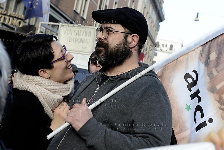 Roma, 28 Febbraio 2015<br /> Manifestazione dei movimenti romani contro la lega e Casa Pound che manifestano a Piazza del Popolo.<br /> Nella foto le reti metalliche della polizia a blindare via Napoleone III dove ha sede CasaPound.