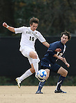 02 December 2007: Wake Forest's Evan Brown (18) and West Virginia's Reed Cooper (12). The Wake Forest University Demon Deacons defeated the West Virginia University Mountaineers 3-1 at W. Dennie Spry Soccer Stadium in Winston-Salem, North Carolina in a Third Round NCAA Division I Mens Soccer Tournament game.