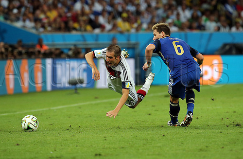13.07.2014. Rio de Janeiro, Brazil. World Cup Final. Germany v Argentina. Lahm is fouled as he skips past Biglia
