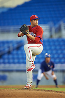 GCL Phillies starting pitcher Mauricio Llovera (86) during the second game of a doubleheader against the GCL Blue Jays on August 15, 2016 at Florida Auto Exchange Stadium in Dunedin, Florida.  GCL Phillies defeated the GCL Blue Jays 4-0.  (Mike Janes/Four Seam Images)